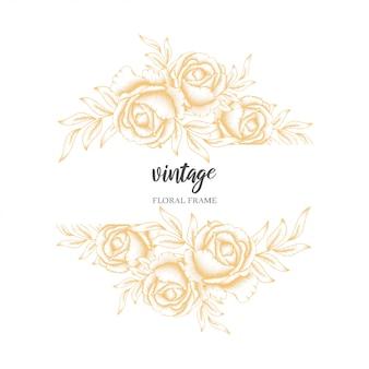 ゴールデンビンテージローズの花のフレーム