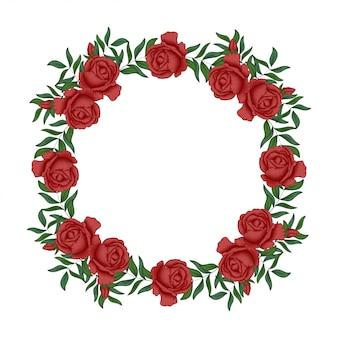 赤いバラのフローラルリースサークルボーダー