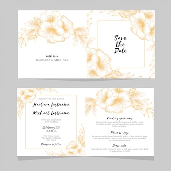 黄金のハイビスカスの花の結婚式の招待状のテンプレート