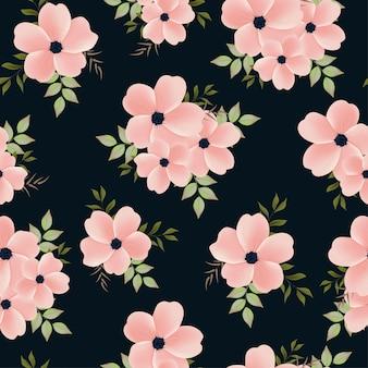 花の花束と美しいシームレスパターン