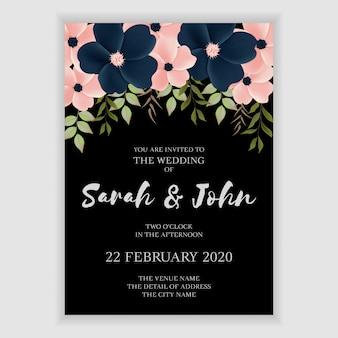 暗い花の結婚式の招待状のテンプレート