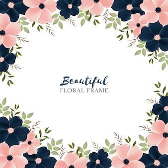 花のフレームと美しい背景