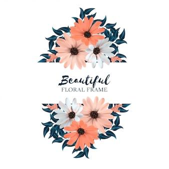 花の花束と美しい水平花のフレーム