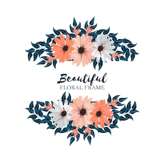 Красивая горизонтальная цветочная рамка с букетом цветов