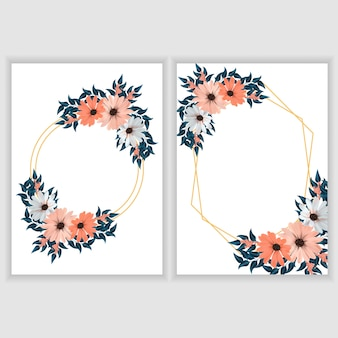 花とゴールデンフレームとグリーティングカードテンプレート