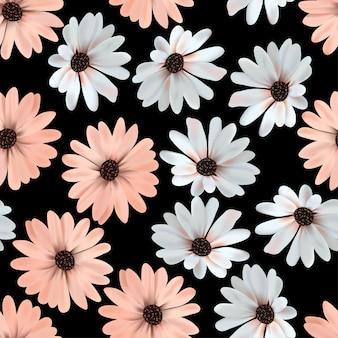 美しい花が咲くとのシームレスなパターン