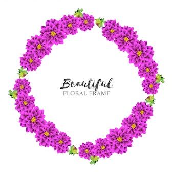 美しいダリア花サークルフレーム