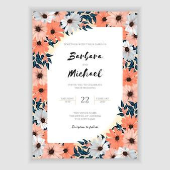 カラフルな花のフレームと結婚式の招待カード