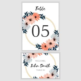 美しい花のテーブル番号カード