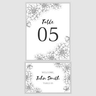 手描きの花飾り付きのテーブル番号カード