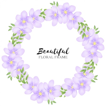 美しい紫色の花サークルフレーム