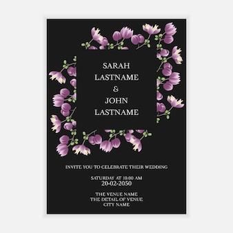 最小限の花の結婚式の招待カードのテンプレート