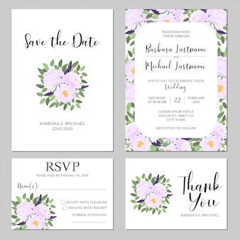 Набор шаблонов свадебных приглашений