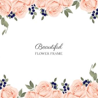 桃咲くバラの花束と花のフレームの背景