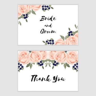 結婚式のためのバラの花飾りとありがとうカードテンプレート