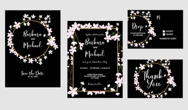 桜の花の結婚式の招待状のテンプレート