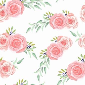 水彩のピンクのバラの花のシームレスパターン