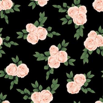 Персиковая роза цветочный бесшовный узор