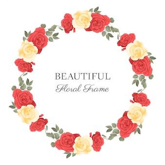 バラの花の花束と花丸フレーム
