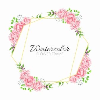 ピンクの水彩花のイラストと素朴な花のフレーム