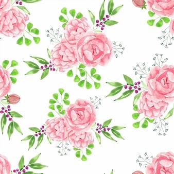水彩花の花束とのシームレスなパターン