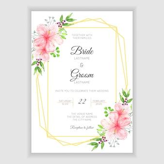 水彩の熱帯の花と結婚式の招待カード