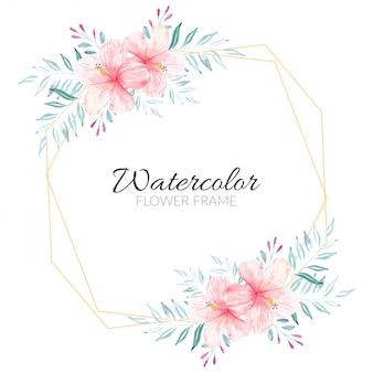 ピンクのハイビスカスの花束と水彩花のフレーム