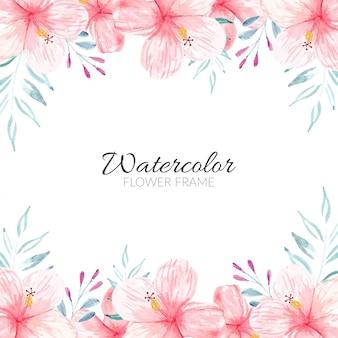水彩のハイビスカスの花束と花のフレームの背景