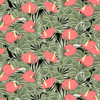 熱帯アンスリウムオランダカイウユリのシームレスパターン