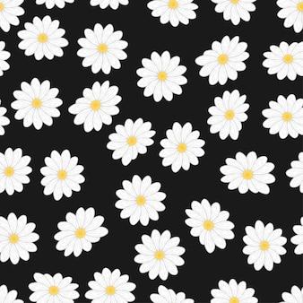漫画の白いデイジーの花のシームレスパターン