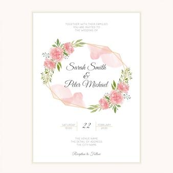 カーネーションの花と水彩の手描きの結婚式の招待カード