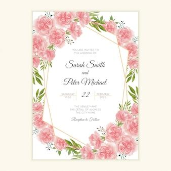 水彩カーネーションの花と結婚式の招待カード
