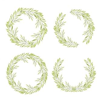 水彩の手描きの緑の葉の花輪コレクション