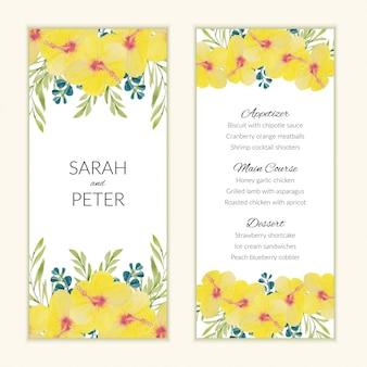 Шаблон меню карты с акварелью желтый цветок