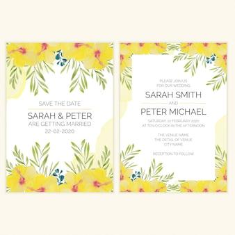 Свадебная пригласительная открытка с акварелью тропический цветок
