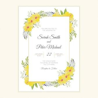 黄色のハイビスカスの花のフレームとの結婚式の招待状