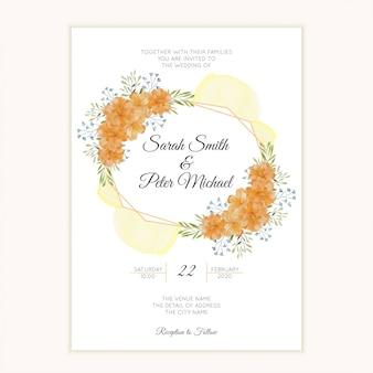 黄金の花のボーダーと水彩の結婚式の招待カード