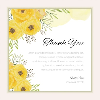 水彩の黄色い花飾りとありがとうカードテンプレート