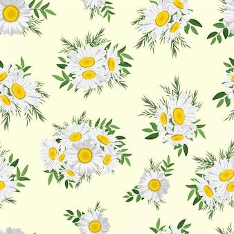 花デイジーブーケシームレスパターン