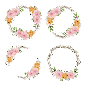 ハイビスカスの花サークルフレームセットの水彩イラスト