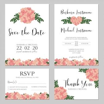 ピンクのアジサイの花の結婚式の招待状