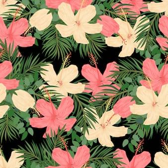 熱帯のハイビスカスとヤシのシームレスパターン