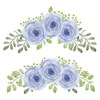 手描きの水彩画のバラの花の曲線の花束