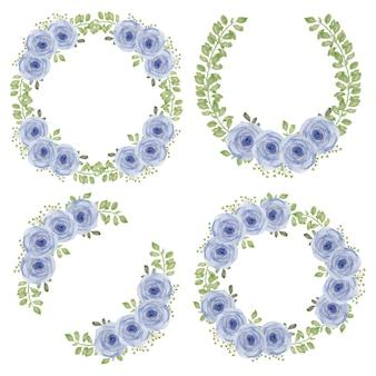Акварель фиолетовая роза цветок круг венок