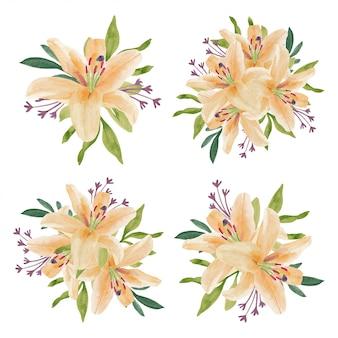ビンテージ水彩美しいユリの花のアレンジメント
