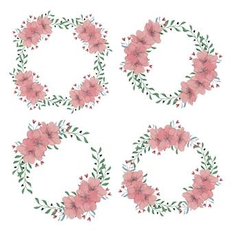 水彩の手描きで桜の花の花輪