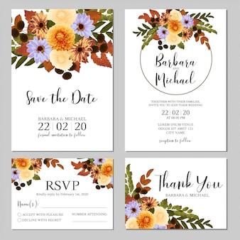 ダリアの結婚式の招待状のテンプレートと秋の花束