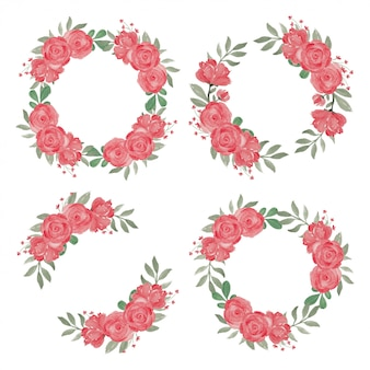 赤いバラの花の花輪手描きの水彩風