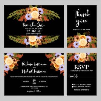 秋の花の花束と結婚式の招待状のテンプレート