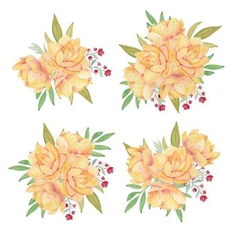 黄色い蓮の花の花束水彩画コレクション